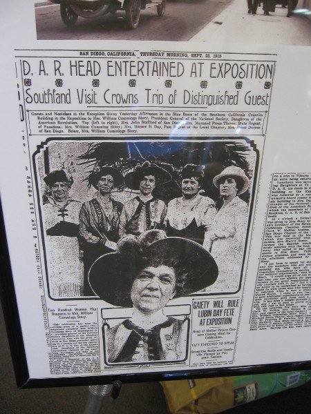 Arrival in San Diego of President General of the National Society was big news in 1915.