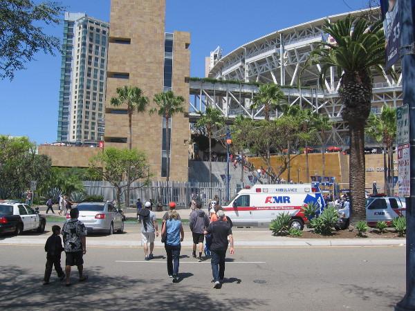 Walking along toward Petco Park, anticipating a Padres win.