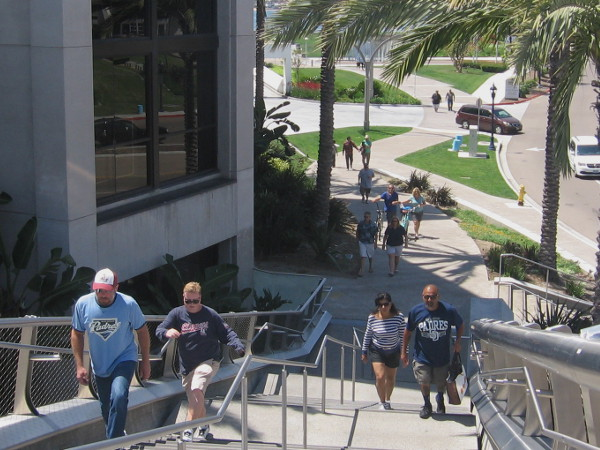 Climbing the Harbor Drive pedestrian bridge from a path near the Hilton San Diego Bayfront hotel.