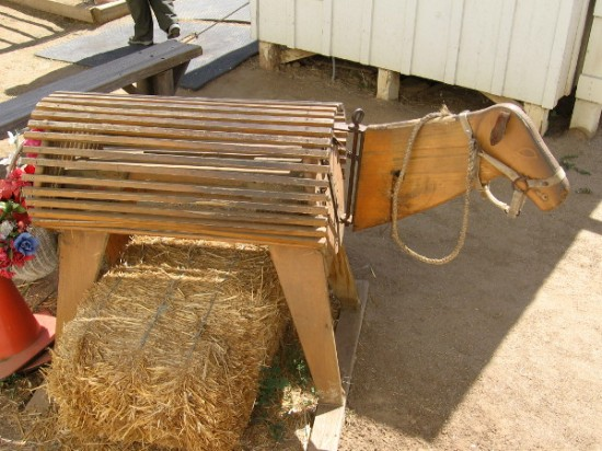 Is this one of the donkeys. Nope. Visitors and kids from local schools can sit on this wooden critter, because touching the live donkeys is not allowed.