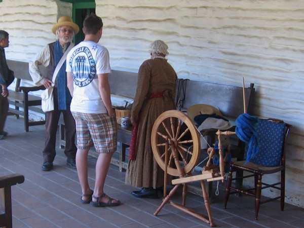 State Park volunteers describe life in early San Diego, when spinning wheels were common household objects.