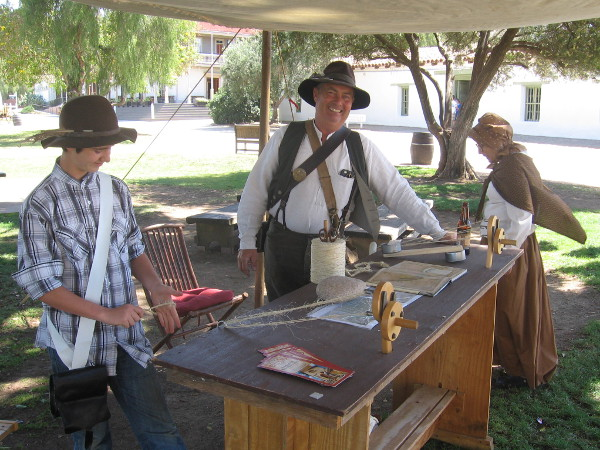 Mormon guy smiles as he exhibits rope-making in Old Town. The Mormon Battalion was one of many diverse participants in San Diego's early history.