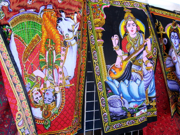Many crafts, clothes and goods for sale featured lush color and spiritual imagery from Eastern religious traditions.