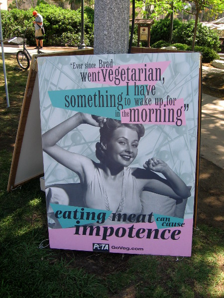 Local vegan and vegetarian groups had different booths and some humorous signs.