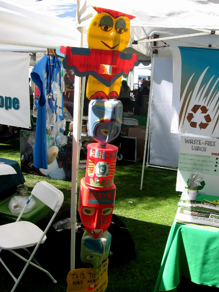 This totem pole was made of recycled materials!