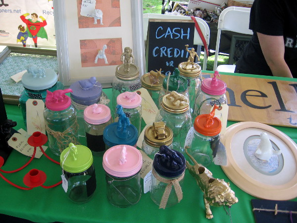 Fun art from recycled everyday items in the Repair and Reuse tent.