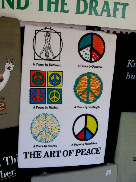 The art of peace by Da Vinci, Warhol, Picasso and other famous artists.
