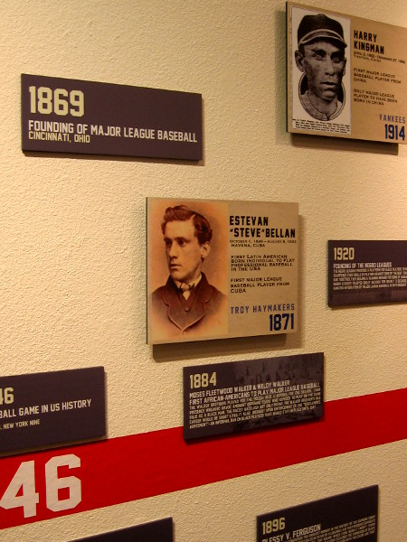Timeline on wall shows notable baseball players through history, eventually shattering racial stereotypes and barriers.