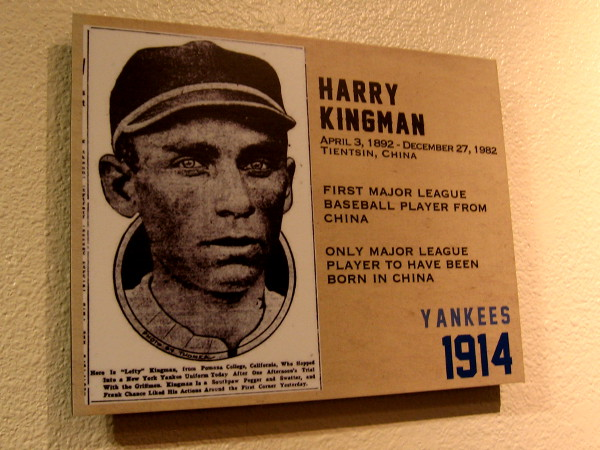 Harry Kingman in 1914, the only Major League player to have been born in China.