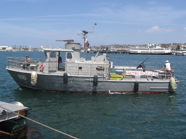 The restored Swift Boat, PCF-816 approaches the Maritime Museum of San Diego on downtown's waterfront.