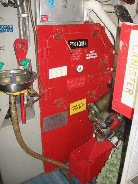 Red pyro locker used to safely house signal flares.