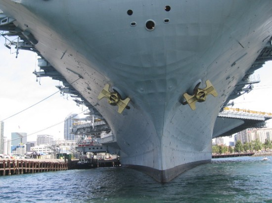 We pass under the immense bow of the USS Midway aircraft carrier, which is also a super popular and fascinating museum.