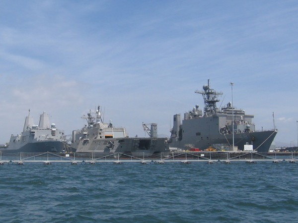 That unique ship in the middle is a new Independence-class littoral combat ship. USS Coronado is a trimaran, which allows it to operate in shallow water.