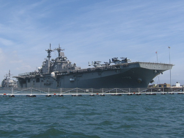 USS Essex is an enormous United States Navy Wasp-class amphibious assault ship based in San Diego.