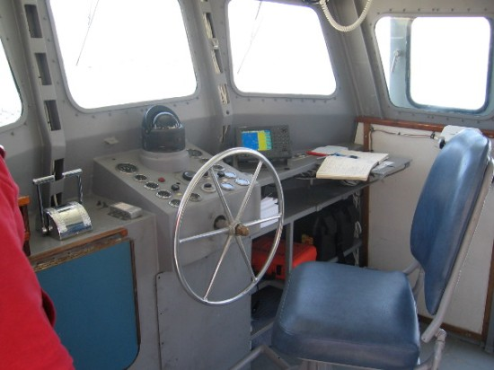 After docking, I get a quick pic of the Mark ll Swift Boat's small pilot house.