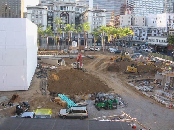 A good wide view of construction underway. This public space will be a major addition to downtown San Diego.