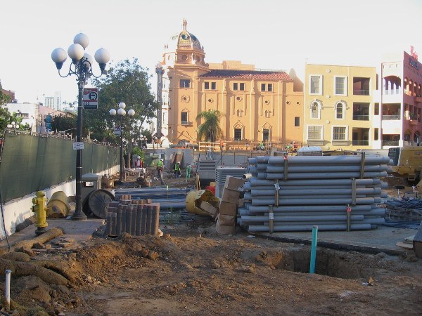 Early morning light touches the Balboa Theatre and a section of the Horton Plaza mall in the background.