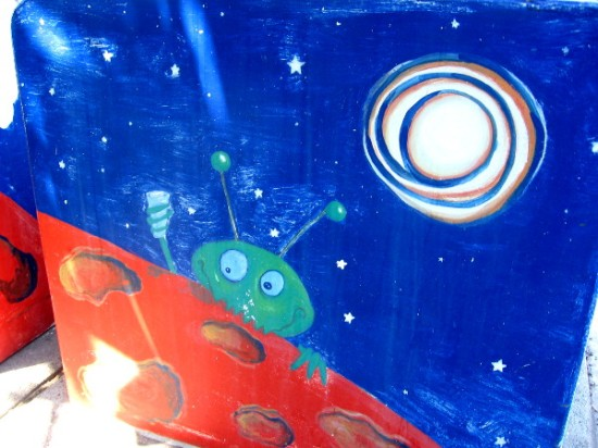 A zany peek over Mars, under stars.