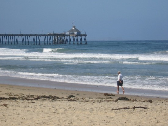 Walking on the beach north of the Imperial Beach pier.