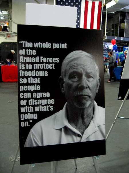 The whole point of the Armed Forces is to protect freedoms so that people can agree or disagree with what's going on.