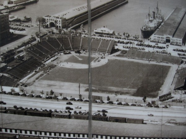 East Village street mural shows photo of Lane Field under construction in 1936.