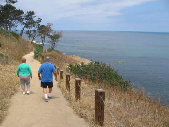 Taking an easy stroll above the wide, blue ocean in beautiful La Jolla.