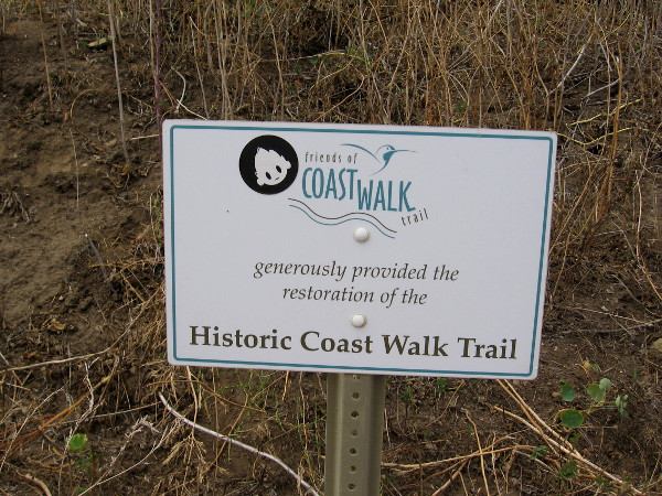 The Historic Coast Walk Trail begins near Torrey Pines Road and ends at the Cave Store on Coast Boulevard.