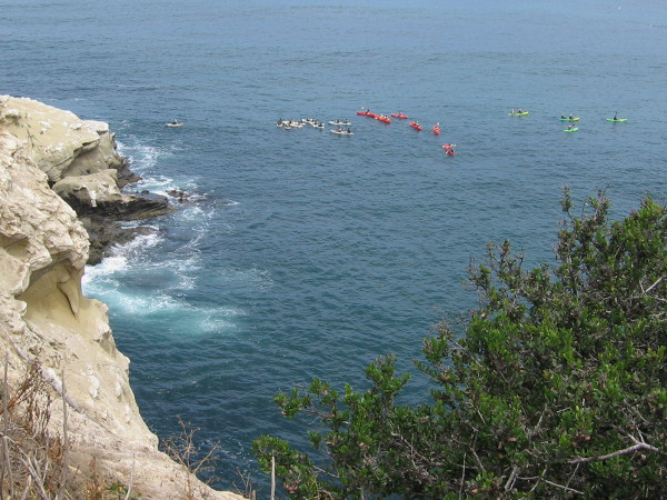 Dozens of kayakers were out on the water as I walked west down the trail enjoying magnificent views.