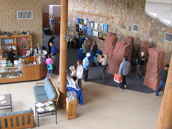 View inside the Mission Trails Visitor and Interpretive Center from second floor balcony.