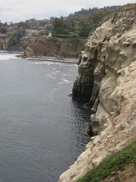 From the view point I look east along eroded cliffs toward La Jolla homes.