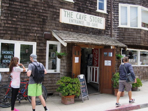 A man-made tunnel inside the Cave Store leads from the gift shop to the Sunny Jim Sea Cave.