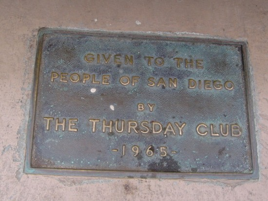 Plaque recalls how the second identical plaster fountain (next to the Timken Museum of Art) was restored back in 1965 by The Thursday Club.