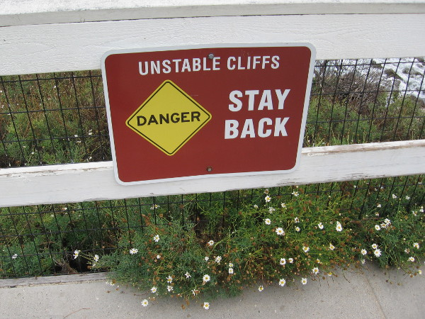 The cliffs of La Jolla are made of unstable sandstone, which occasionally crumbles into the ocean.