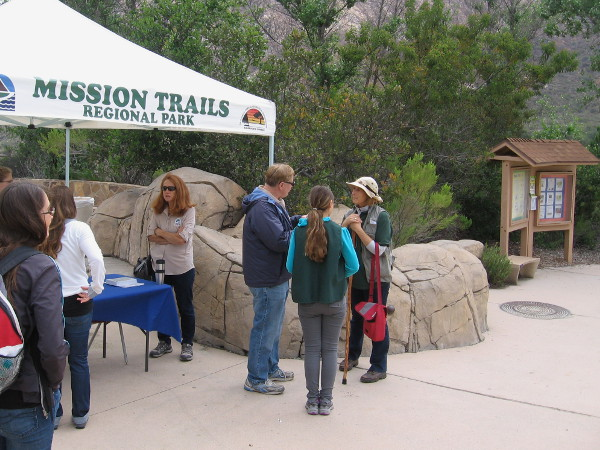We gathered at the kiosk near the parking lot for an easy morning nature walk.
