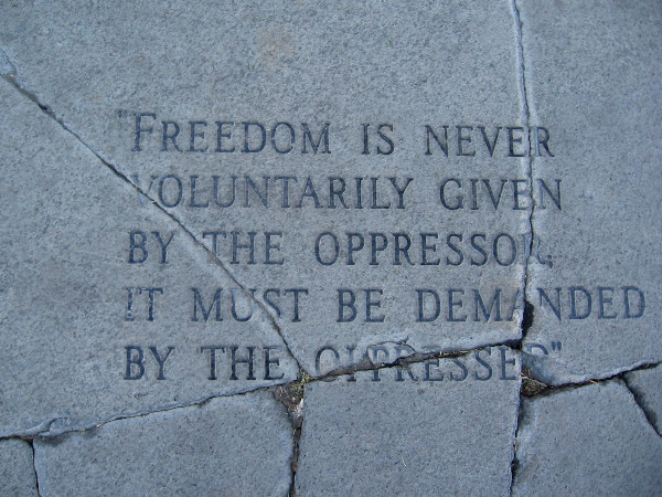 Freedom is never voluntarily given by the oppressor. It must be demanded by the oppressed.