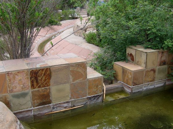 Replicated flume near Visitor Center is a modern interpretation of the man-made channel that carried water from the old Mission Dam (a couple miles upriver) to Mission San Diego de Alcala.