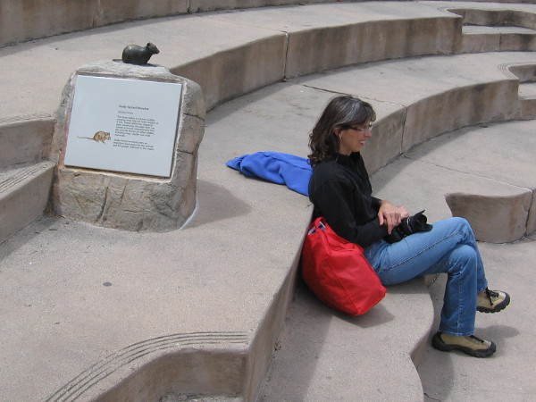 Lady rests in Visitor Center amphitheater by small bronze sculpture of a Dusky-footed Woodrat. These wild rodents can create nests up to 8 feet high!