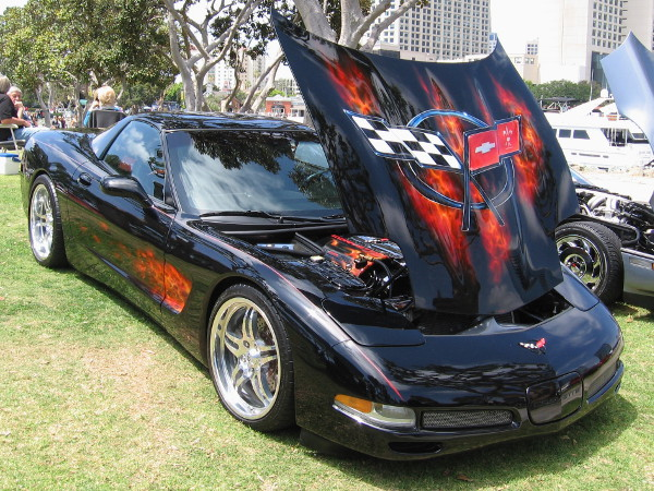 Artwork on this slick sports car includes flames and a checkered flag.