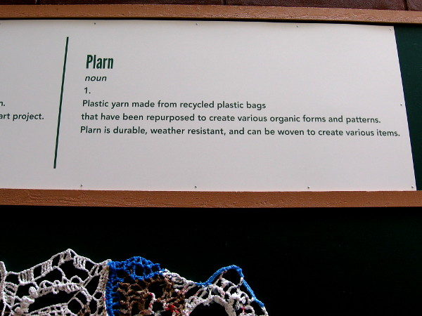 Plarn is plastic yarn made from recycled plastic bags. It is durable, weather resistant, and can be woven to create various items.