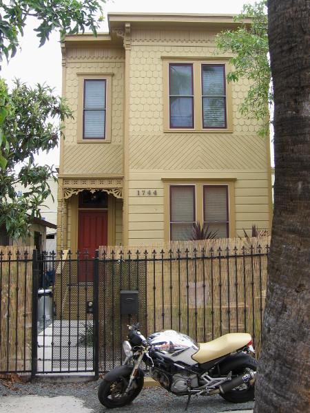 Quaint narrow house on National Avenue near downtown San Diego.