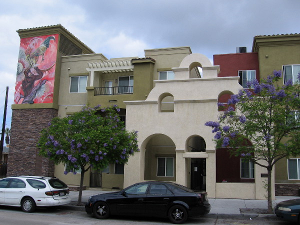 The Mission Revival facade on La Entrada apartments is an homage to the neighborhood's history.