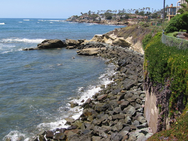 Gazing north along the rocky shore. La Jolla Cove is on the other side of that distant jutting land.