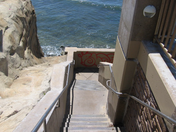 Heading down the short staircase to get a closer look at the beauty of Bird Rock.