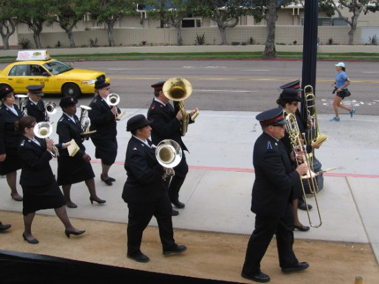 The Salvation Army marching band parades around County of San Diego Waterfront Park.