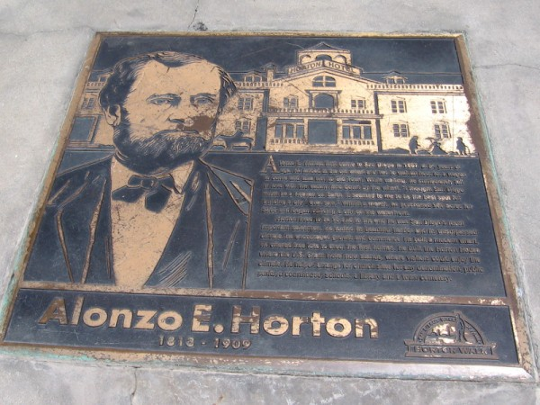 Alonzo E. Horton established New Town where downtown San Diego exists today.