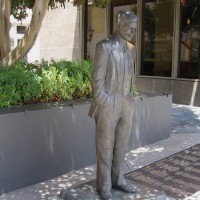 Statues of historical figures in front of Horton Plaza.