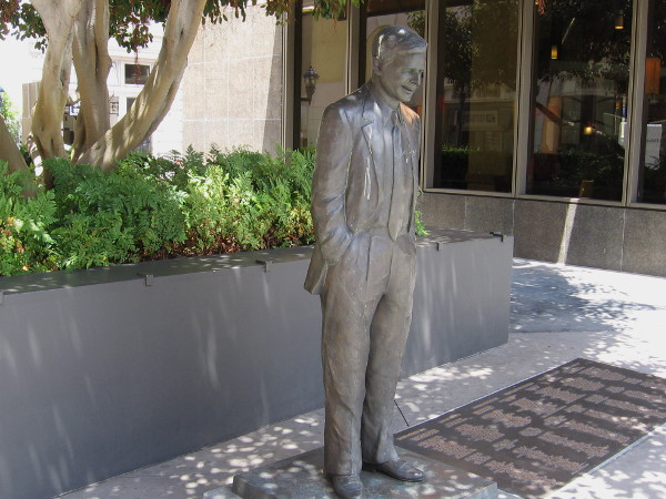 Statue of Pete Wilson, a popular San Diego mayor and prominent political figure.