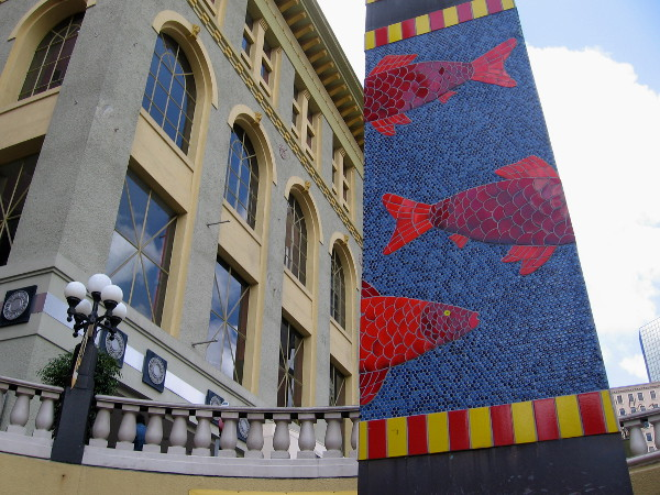 A closer view of colorful tile fish on the Horton Plaza obelisk.
