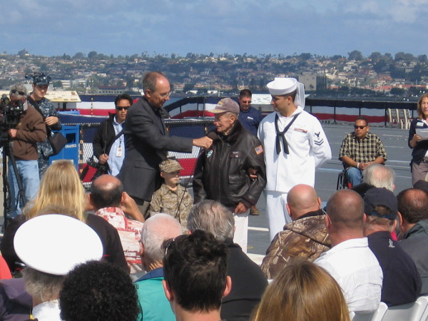This honored vet performed his duty in the Pacific during the Second World War. With him are two other generations.