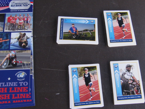 Operation Rebound table had images of wounded warriors who have turned or returned to sport. This organization helps challenged athletes with their expenses.
